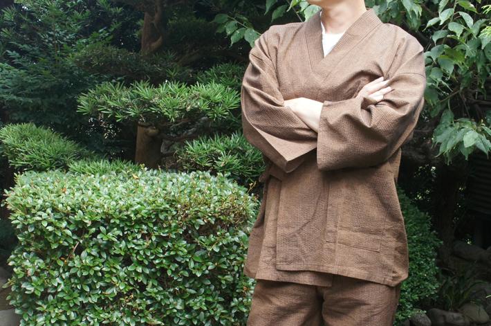 夏用の日本製しじら織り作務衣