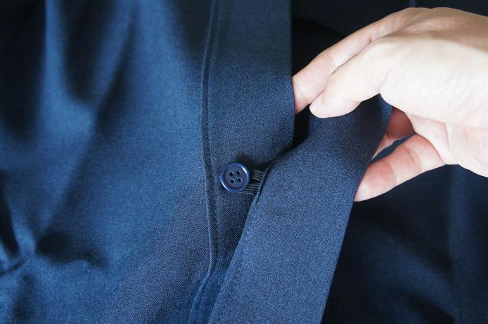 はだけ防止ボタン付き作務衣
