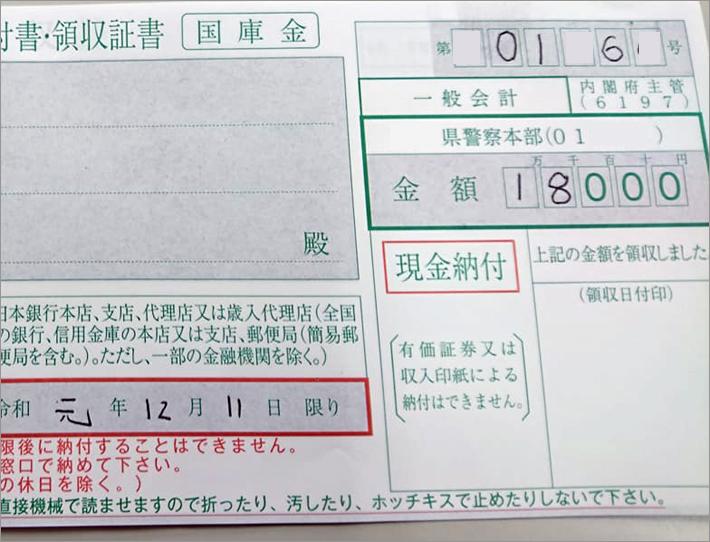 ながら運転の罰金18000円